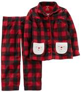 Carter's Toddler Girl Santa Buffalo Check Top & Bottoms Microfleece Pajama Set