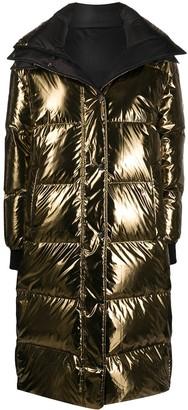 Army by Yves Salomon Reversible Longline Metallic Puffer Coat
