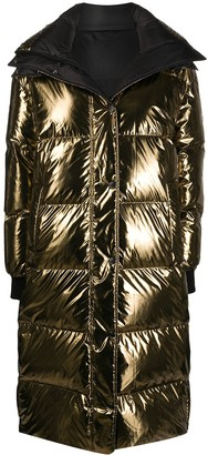 Yves Salomon Army Reversible Longline Metallic Puffer Coat