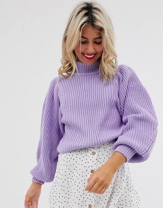 Asos Design DESIGN chunky rib jumper with volume sleeve-Red