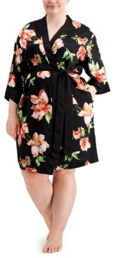 INC International Concepts Inc Plus Size Floral-Print Satin Wrap Robe, Created for Macy's