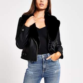 River Island Womens Black faux leather biker jacket