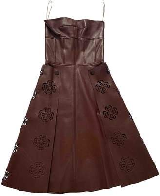 Alexander McQueen Burgundy Leather Dresses