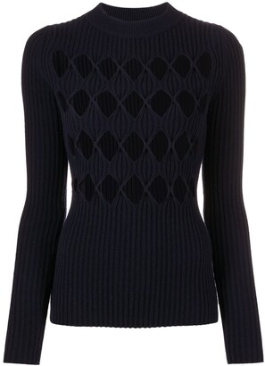 Victoria Beckham Cut-Out Argyle Crew Neck Jumper