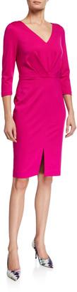 Trina Turk Sable 3/4-Sleeve Gathered Ponte Dress