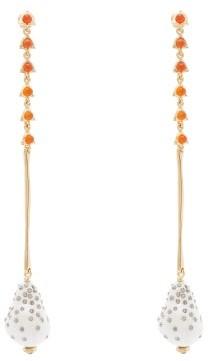 Chloé Baroque Pearl And Crystal Drop Earrings - Womens - Pearl