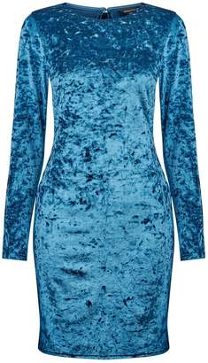 Dorothy Perkins Womens **Teal Blue Velvet Tube Dress, Blue