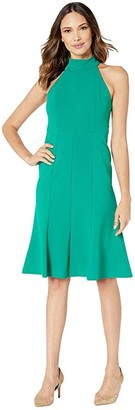 Donna Morgan Crepe Mock Neck Halter Midi Dress (Evergreen) Women's Dress