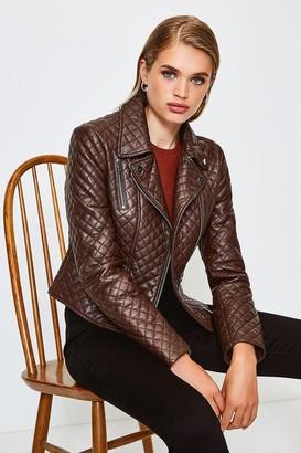 Karen Millen Leather All Over Quilted Biker Jacket