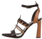 Proenza Schouler Snakeskin-Trimmed Suede Sandals