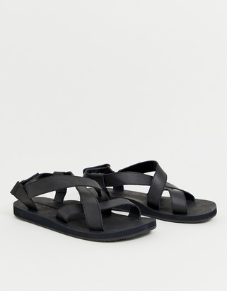Jack and Jones Leather sandal with crossover straps-Black