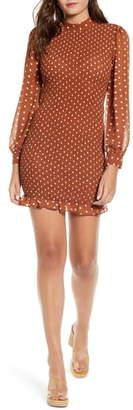 J.o.a. Polka Dot Smocked Minidress