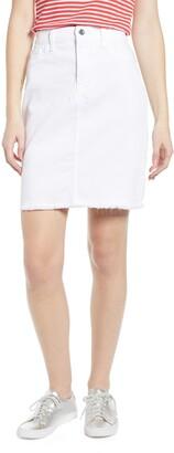 Jen7 Frayed Hem Denim Pencil Skirt