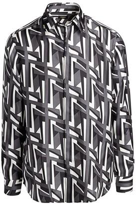 Fendi Futuristic FF Print Silk Dress Shirt