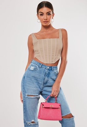 Missguided Brown Satin Corset Top