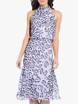 Adrianna Papell Watercolour Midi Dress, Purple/Multi