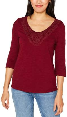 Esprit Embroidered V-Neck T-Shirt with 3/4 Sleeves