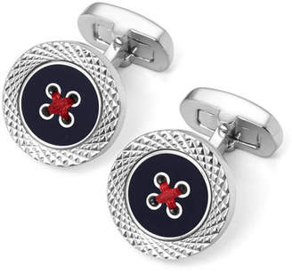 Aspinal of London Engraved Edge Button Cufflinks