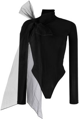 Atu Body Couture Mesh-Detail Long Sleeve Bodysuit