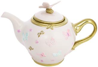 Rosegold Villari - Butterfly Porcelain Teapot - Baby Rose/Gold