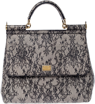 Dolce & Gabbana Grey Lace Print Leather Medium Miss Sicily Top Handle Bag