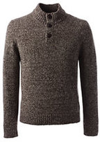 Classic Men's Wool Blend Marl Button Mock Sweater-Dark Camel Donegal