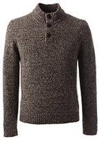 Lands' End Men's Classic Wool Blend Marl Button Mock Sweater-Deep Scarlet