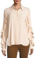 No.21 No. 21 Button-Front Shirt with Ruffled Trim