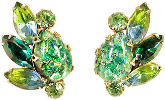 One Kings Lane Vintage 1950s Weiss Green Art Glass Earrings - Neil Zevnik
