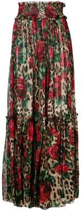 Dolce & Gabbana floral leopard print trousers