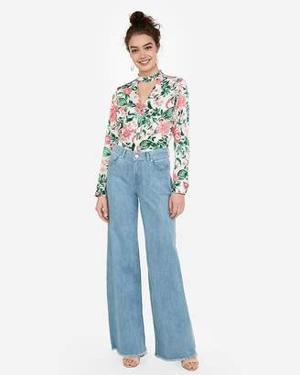 Express Satin Floral Print Choker Button Front Chelsea Popover