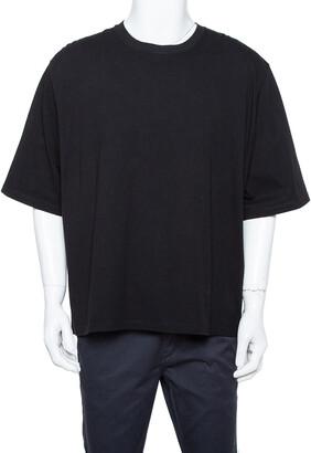 Raf Simons Black Cotton Cutout Graphic Print Crew Neck T-Shirt L