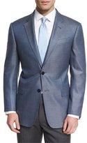 Armani Collezioni G-Line Small Box-Check Sport Coat, Light Blue