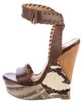 Lanvin Snakeskin Wedge Sandals
