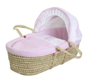 Baby Elegance Star Ted Moses Basket (Pink)