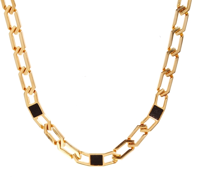 Gogo Philip Leather Insert Large Link Chain Necklace