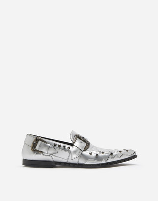Dolce & Gabbana Slippers In Cracked Mirror Calfskin With Stone Embroidery