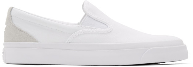 Converse White Suede One Star CC Slip-On Sneakers