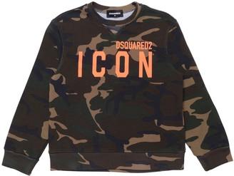 DSQUARED2 Camouflage Print Cotton Sweatshirt