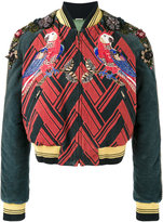 Gucci embroidered chevron bomber jacket - men - Silk/Cotton/Acrylic/glass - 46