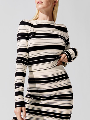 Proenza Schouler Compact Stripe Cropped Crew Neck Pullover