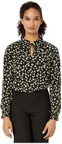 MICHAEL Michael Kors Tossed Lilies Shirred Top (Black/Bright Dandelion) Women's Clothing