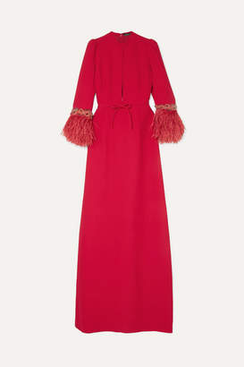 Andrew Gn Embellished Cady Gown - Red