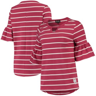 Women's Crimson Oklahoma Sooners Go with the Flow Striped Keyhole T-Shirt