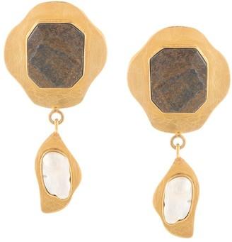 LIYA Bronzite-Embellished Drop Earrings