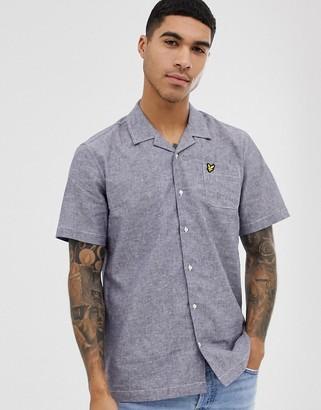 Lyle & Scott revere collar short sleeve linen shirt in navy marl