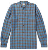 Camoshita Grandad-Collar Checked Ramie And Cotton-Blend Shirt
