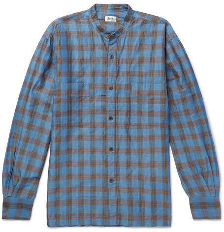Camoshita Grandad-Collar Checked Ramie And Cotton-Blend Shirt