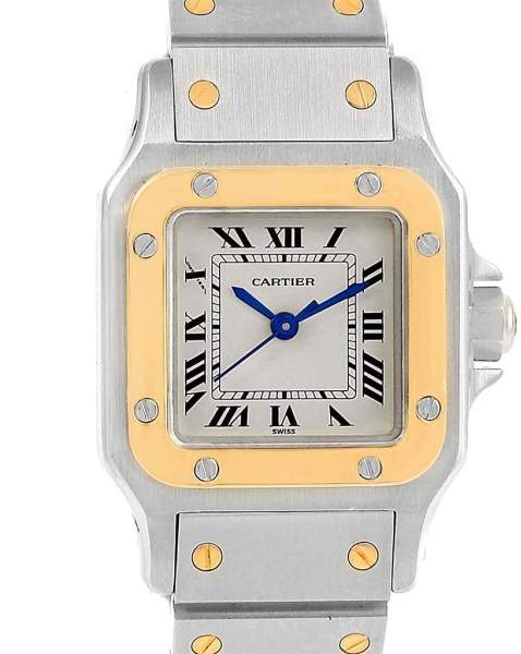 Cartier Santos Galbee 166930 Stainless Steel & 18K Yellow Gold 24mm Womens Watch
