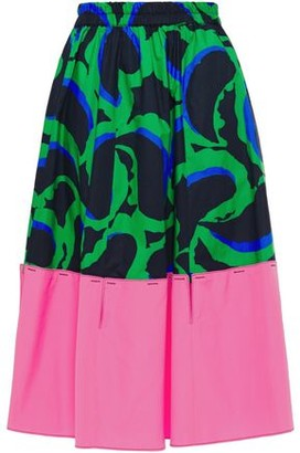 Marni Cutout Printed Cotton-poplin Skirt